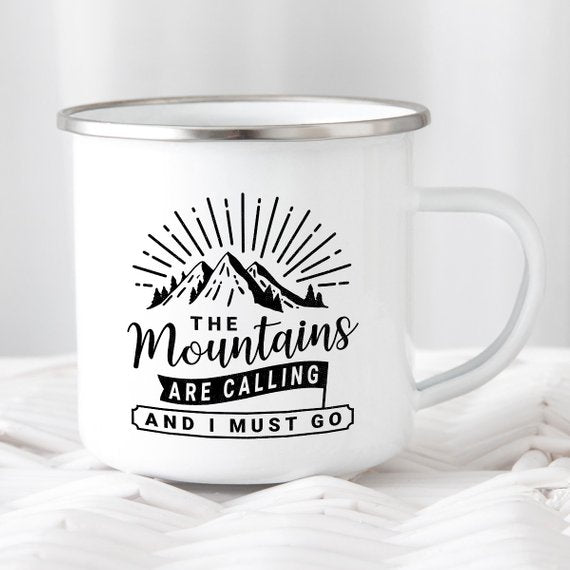 Enamel Camping Mug, Mountain Call