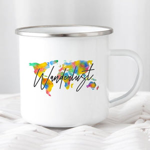 Enamel Travel Mug, World Map