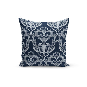 Navy Damask Pillow Cover