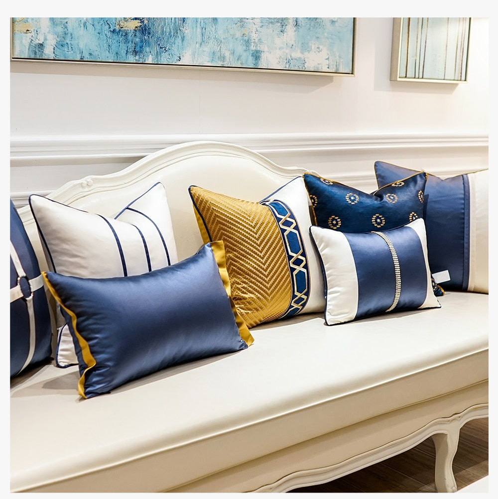 Luxury Patchwork Embroidered Striped Throw Pillow Cushion Covers