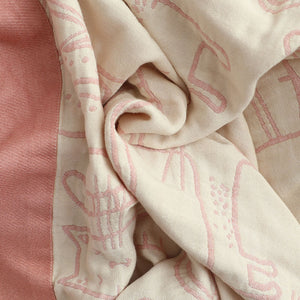 Cotton Muslin Kitty Throw Blanket Bed Cover