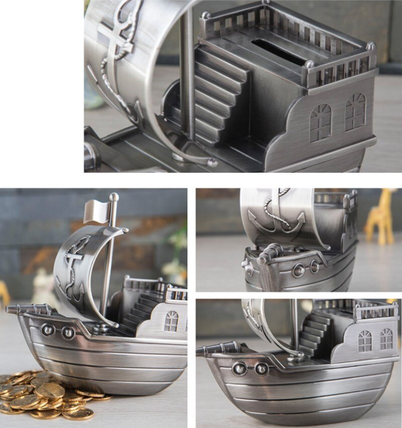Retro Pirate Ship Piggy Bank