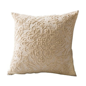 Embroidered Cotton Bouquet Accent Throw Pillow Cover