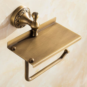 Solid Brass Toilet Paper Holder, Phone Rest
