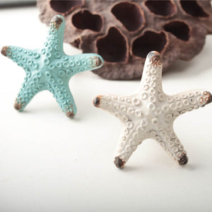 Blue White Starfish Drawer Pulls
