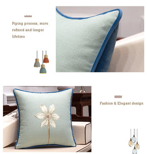 Simple Flower Cotton Linen Throw Pillow Cover