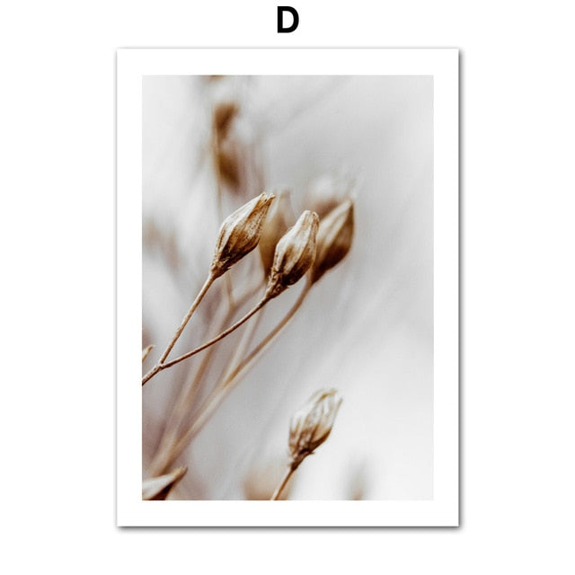 Nature Reed Grass Flower Leaf Plant Canvas Painting