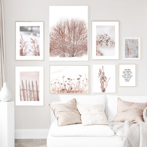 Snow Tree Dandelion Flower Reed Leaf plant Canvas Painting