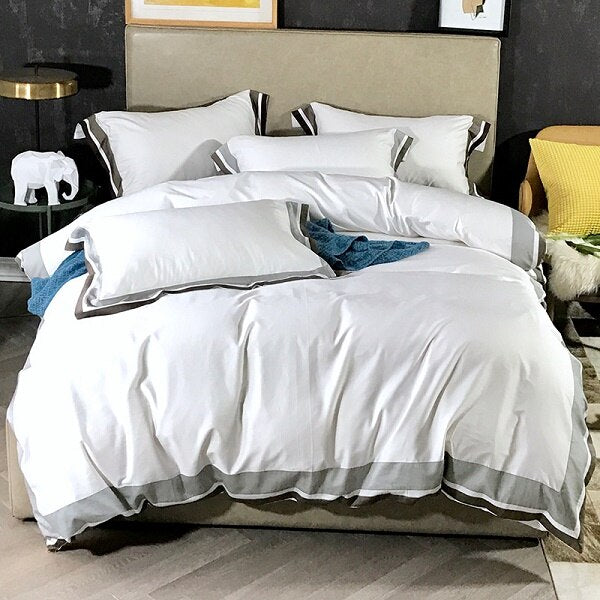 Egyptian Cotton Duvet Cover Bedding, Set 4 PCS