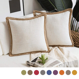 Chic Textured Linen Embroidered Pillow Covers, 2 PCS