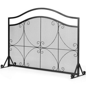 Single Panel Fireplace Screen Spark Guard Fence