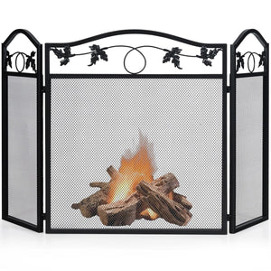 3 Panel Foldable Steel Fireplace Screen Spark Guard Fence