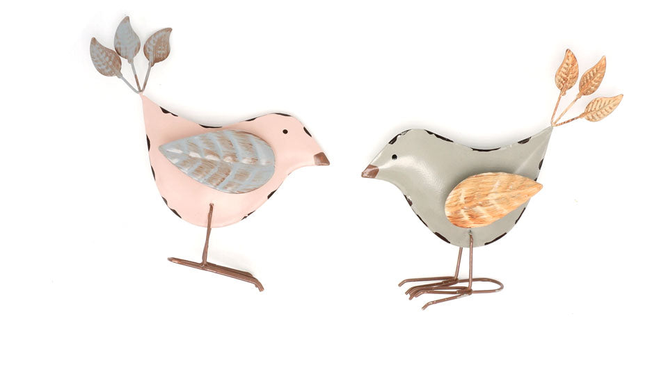 Vintage Pair Of Pink Grey Metal Standing Birds With Leaf Wings