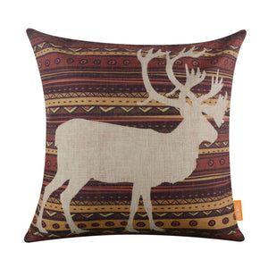 Retro Deer Elk Moose Print Throw Pillow Cover