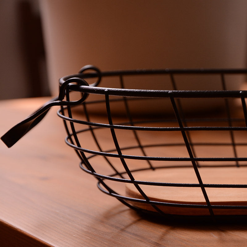 Rustic Wire Wood Bottom Storage Basket