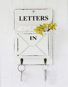 Vintage Retro Wooden Wall Storage Hook Letter Box Holder