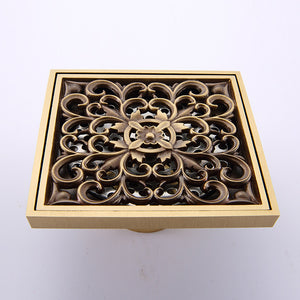 Antique Brass Art Carved Flower Shower Drain Grate Assembly
