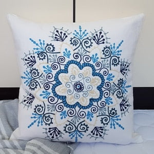Floral Embroidery Throw Pillow Cover