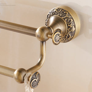 Antique Brass Dual Towel Bar Rack
