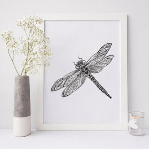 Hand Drawn Dragonfly Canvas Print