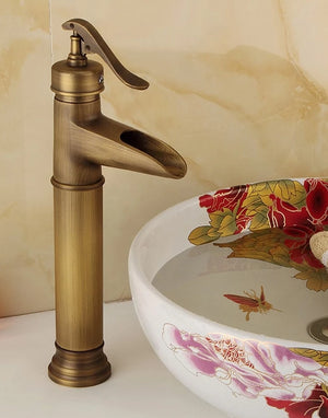 Antique Brass Waterfall Bathroom Sink Faucet