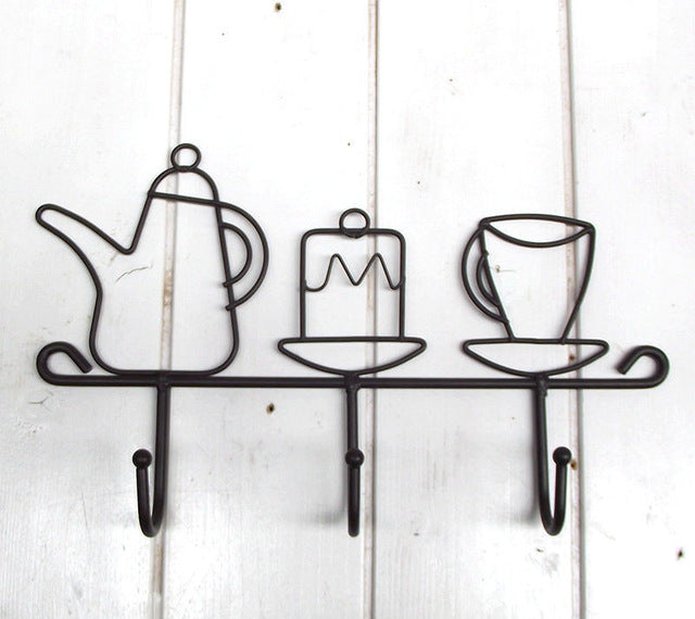 Teapot Cup Saucer Hat Shape Iron Wall Hook