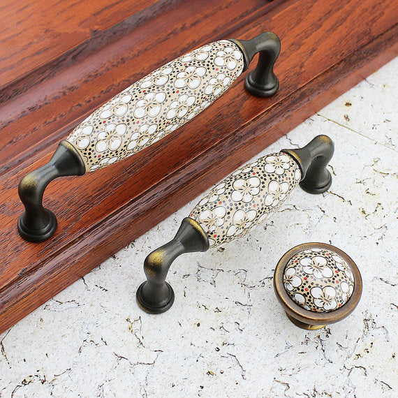 Antique Bronze Ceramic Flower Drawer Handles Knobs Pulls