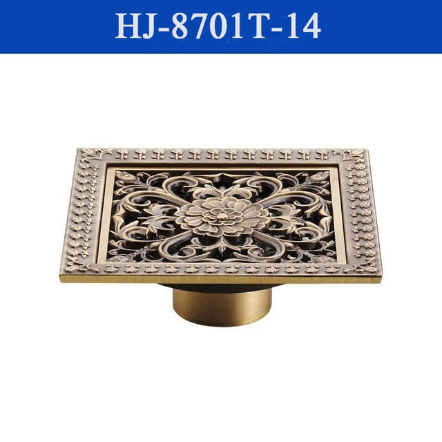 Antique Brass Art Carved Bathroom Shower Floor Drain