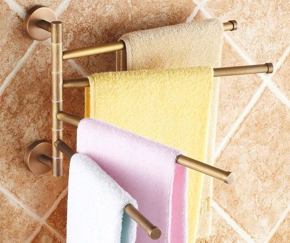 Multi Layered Towel Bar Holder Rack, Antique Brass