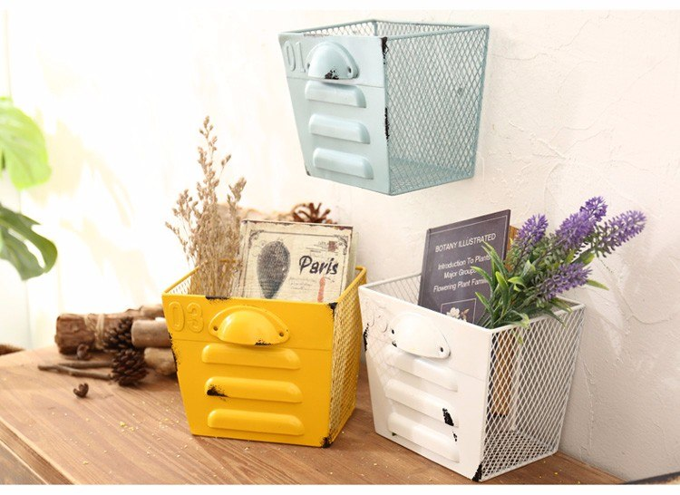 Retro Color Rectangle Iron Mesh Storage Basket