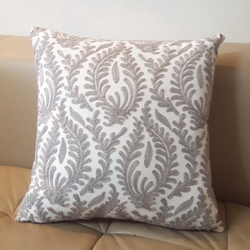 Embroidered Damask Throw Cushion Pillow Cover
