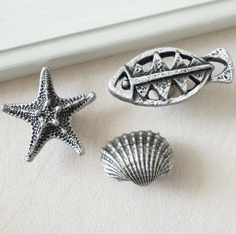 Antique Silver Black Fish Bone Starfish Sea Shell Dresser Drawer Cabinet Door Knob Handle Pulls