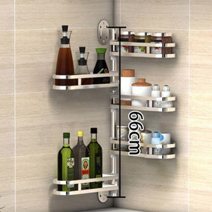 Rotating Stainless Steel Kitchen Wall Rack Hooks Shelf Organizer  1-5 Layers