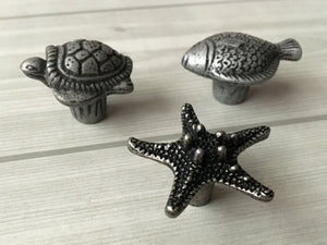 Antique Silver Black Pewter Turtle Fish Starfish Dresser Drawer Knobs Kitchen Bathroom Cabinet Door Pulls Handle