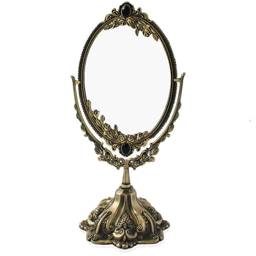 Vintage Bronze Embossed Frame Table Mirror