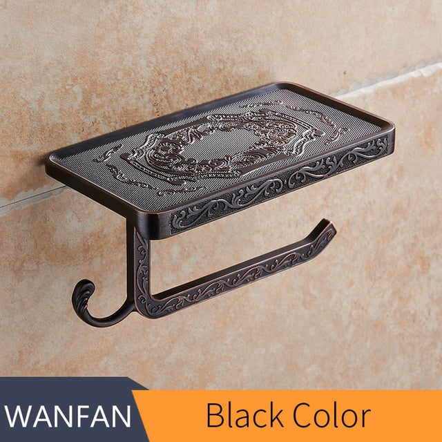 Antique Carving Toilet Paper Rack with Phone Shelf