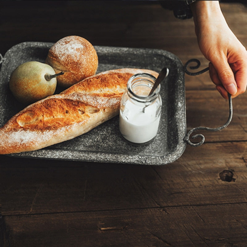 Metal Bread Tray With Handles