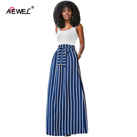 Women High Waist Striped Skirt