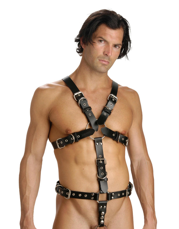 Strict Leather Body Harness with Cock Ring - Euphoria Mega Adult Store