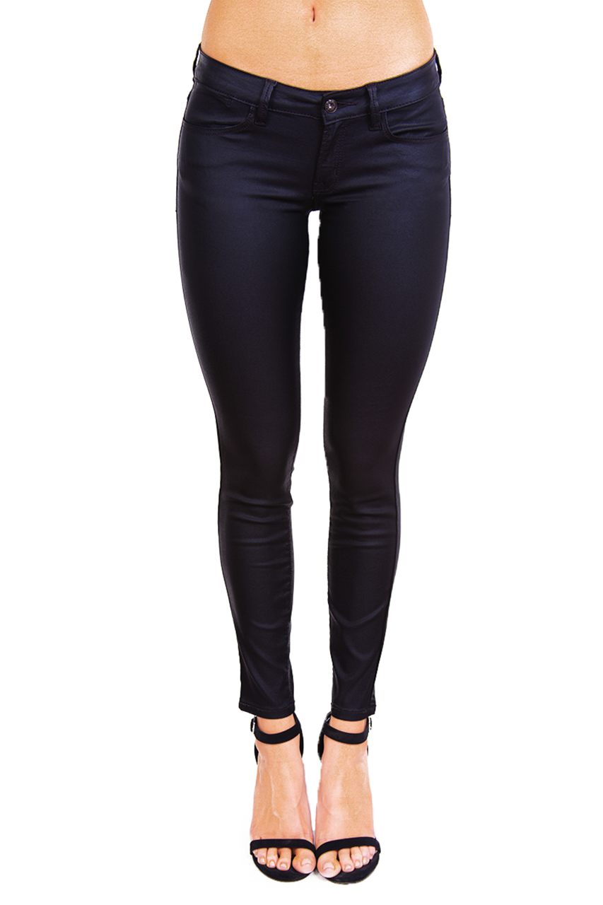 Black Coated Skinny Pants