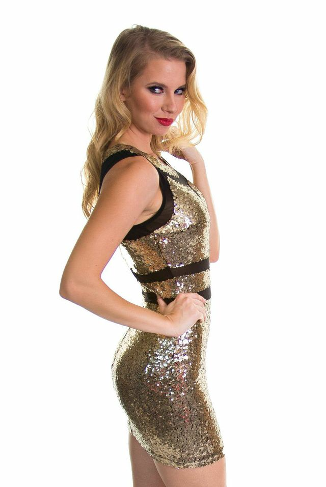 Gold Sequined Mini Dress