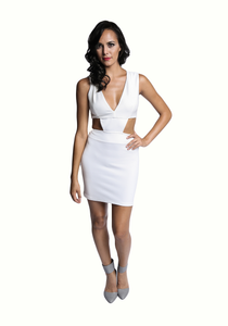 White Deep V Cut Out Dress