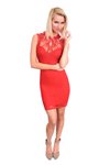 Red Crocheted Neckline Dress