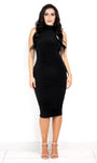 Double Lined Black Bodycon Midi Dress