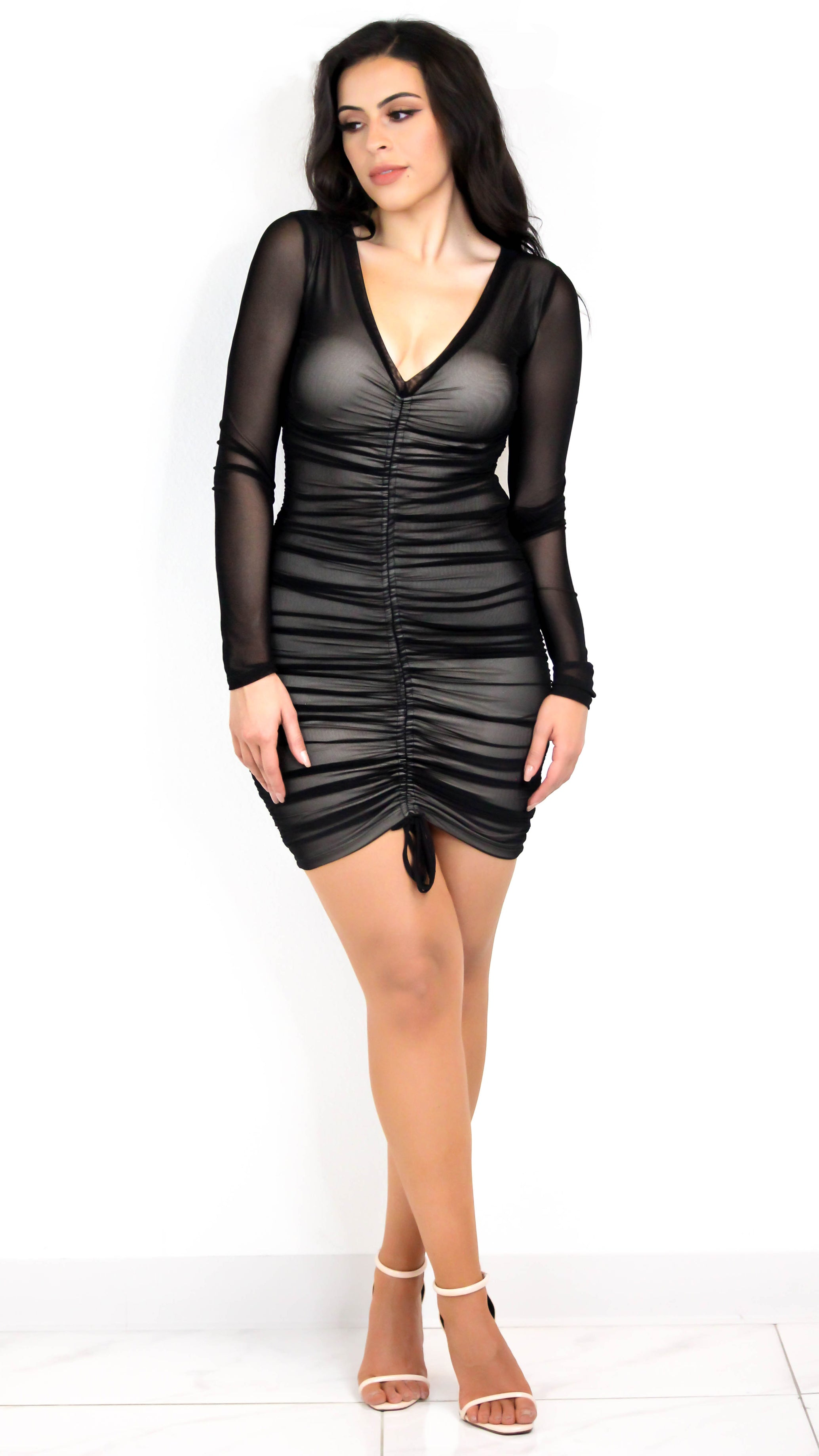 Long Sleeve Ruched Mesh Dress