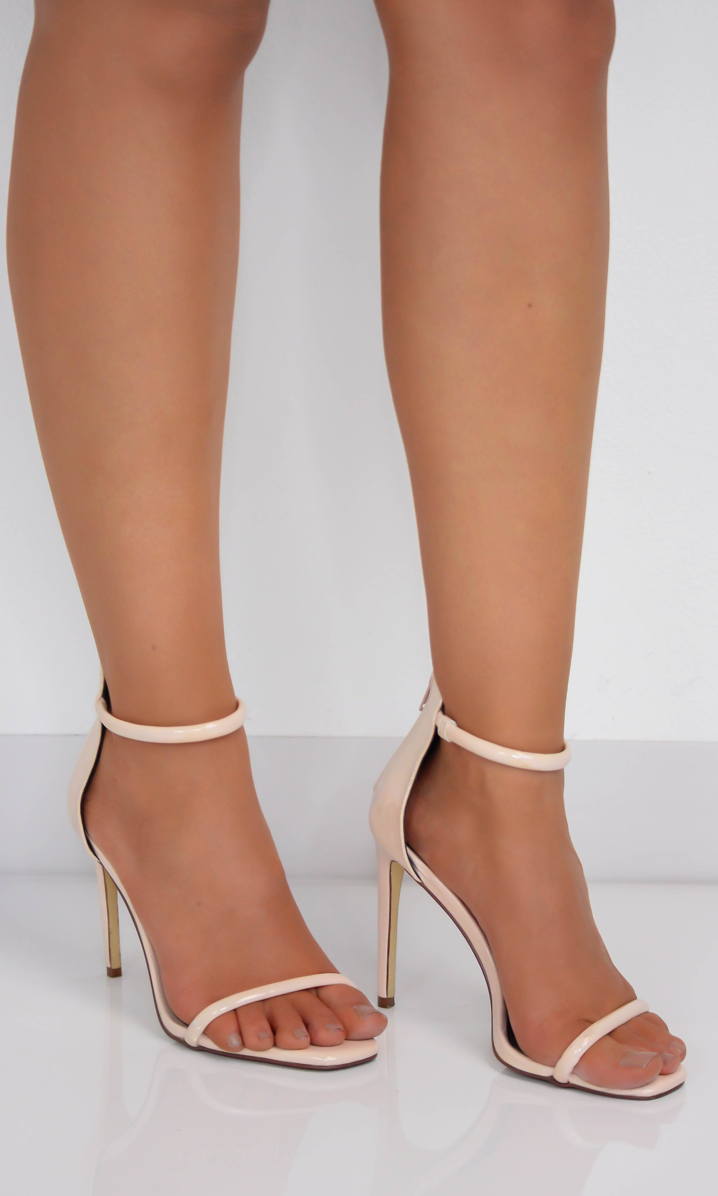 Nude Patent Ankle Strap Heels