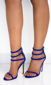 Royal Blue Triple Ankle Strap Heels