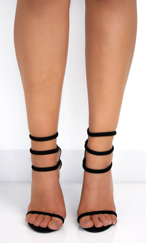 Black Triple Ankle Strap Heels