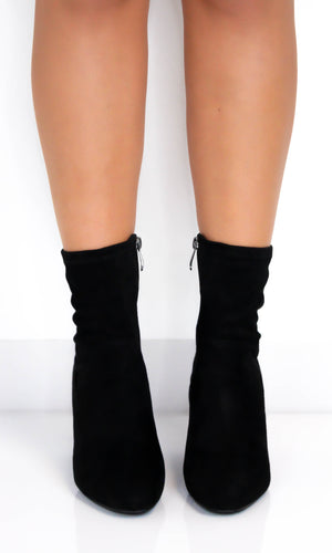 Black Faux Suede High Ankle Boots