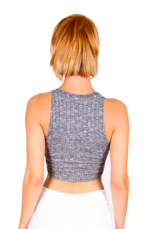 Grey Knitted Crop Top